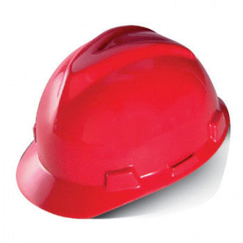 MSA Red Standard V-Gard Class E Type I Polyethylene Slotted Hard Cap With Staz-On Suspension
