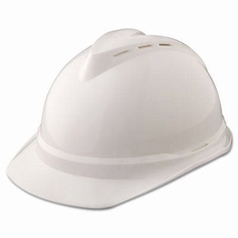 MSA White V-Gard 500 Class C Type I Polyethylene Vented Hard Cap With Fas-Trac 4 Point Suspension And Glaregard Underbrim