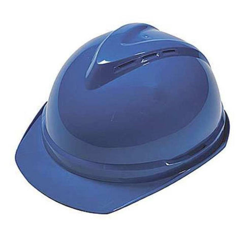 MSA Blue V-Gard 500 Class C Type I Polyethylene Vented Hard Cap With Fas-Trac 6-Point Suspension And Glaregard Underbrim