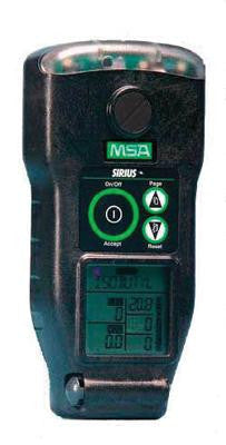 MSA Combustible Gases, Oxygen, Carbon Monoxide And Hydrogen Sulfide Sirius Gas Monitor With Rechargeable Battery, Sampling Line, Probe, Carry Line With Belt Clip , Cordura Jacket With Harness, Calibration Kit And Plastic Carrying Case