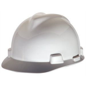 MSA White V-Gard Class E Type I Polyethylene Slotted Hard Cap With Fas-Trac Suspension