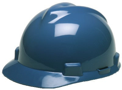 MSA Blue V-Gard Class E Type I Polyethylene Slotted Hard Cap With Fas-Trac Suspension