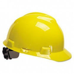 MSA Yellow V-Gard Class E Type I Polyethylene Slotted Hard Cap With Fas-Trac Suspension