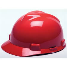 MSA Red V-Gard Class E Type I Polyethylene Slotted Hard Cap With Fas-Trac Suspension