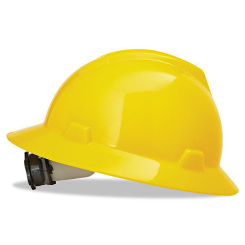 MSA Yellow V-Gard Class E Type I Polyethylene Non-Slotted Hard Hat With Full Brim And Fas-Trac Suspension