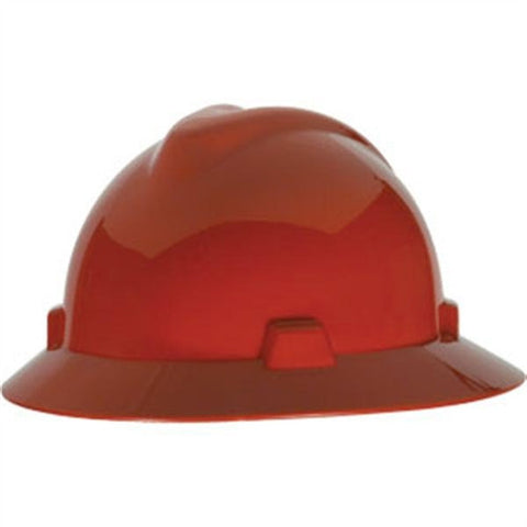 MSA Red V-Gard Class E Type I Polyethylene Non-Slotted Hard Hat With Full Brim And Fas-Trac Suspension