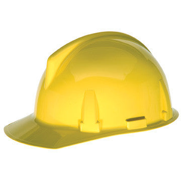 MSA Yellow TopGard Class E Type I Polycarbonate Slotted Hard Cap With Fas-Trac Suspension