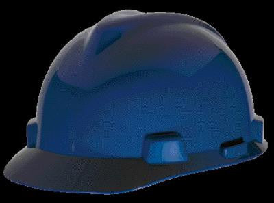 MSA Blue TopGard Class E Type I Polycarbonate Slotted Hard Cap With Fas-Trac Suspension