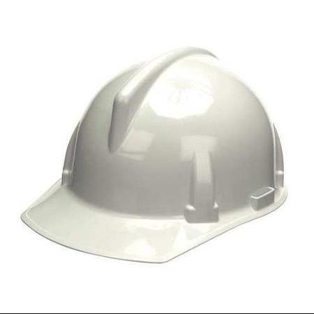 MSA White TopGard Class E Type I Polycarbonate Slotted Hard Cap With Fas-Trac Suspension