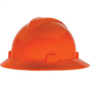 MSA Hi-Viz Orange V-Gard Class E Type I Polyethylene Non-Slotted Hard Hat With Full Brim And Staz-On Suspension