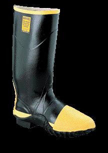 "Servus by Honeywell Size 12 TURTLEBACK Black 16"" Rubber Full Metatarsal Guard Boots With Trac Tread Outsole And Steel Toe"