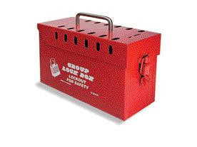 North Red Metal Tamper Proof Group Lock Box (Accepts Up To 13 Individual Locks)