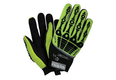 HexArmor Size 9 Black And Hi-Vis Green Chrome Series Cut 5 Impact Hi-Vis SuperFabric Cut Resistant Gloves With Synthetic Leather Palm And Back Of Hand