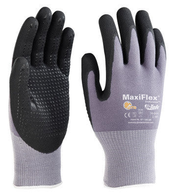 Protective Industrial Products Large MaxiFlex Endurance by ATG 15 Gauge Coated Work Gloves With Gray Nylon Liner, Black Micro-Foam Nitrile Dotted Palm And Fingertips And Continuous Knitwrist