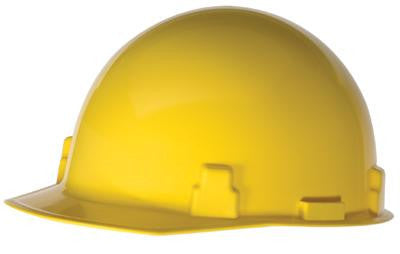 Radnor Yellow SmoothDome Class E Type I Polyethylene Slotted Hard Cap With Ratchet Suspension