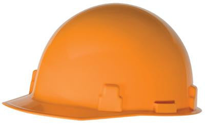 Radnor Hi-Viz Orange SmoothDome Class E Type I Polyethylene Slotted Hard Cap With Ratchet Suspension