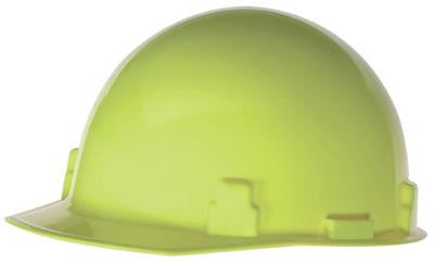 Radnor Hi-Viz Yellow SmoothDome Class E Type I Polyethylene Slotted Hard Cap With Ratchet Suspension