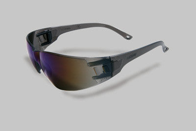 Radnor Classic Series Safety Glasses With Gray Frame And Blue Polycarbonate Anti-Scratch Mirror Lens