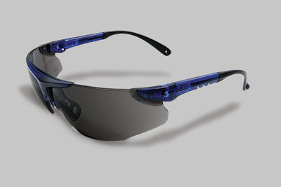 Radnor Elite Series Safety Glasses With Blue Frame And Gray Lens