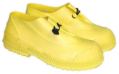 "Radnor Large Yellow 4"" PVC Slip-On Overboots With Self-Cleaning Tread Outsole"
