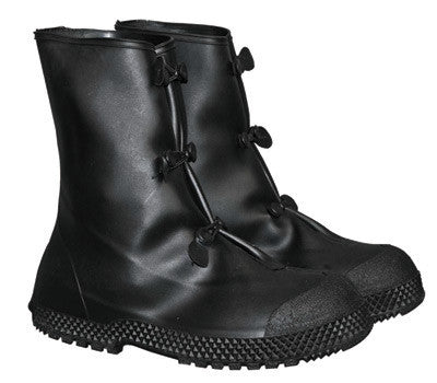 "Radnor Large Black 12"" PVC 3 Button Overboots With Self-Cleaning Tread Outsole"