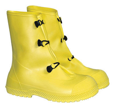 "Radnor Large Yellow 12"" PVC 3 Button Overboots With Self-Cleaning Tread Outsole"