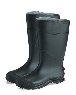 "Radnor Size 8 Black 16"" PVC Economy Boots With Lugged Outsole Steel Toe"