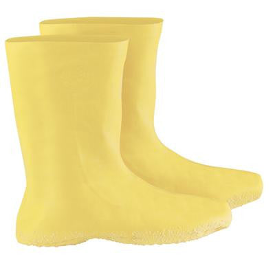 "Radnor Large Yellow 12"" Latex Hazmat Overboots With Ribbed And Textured Outsole"