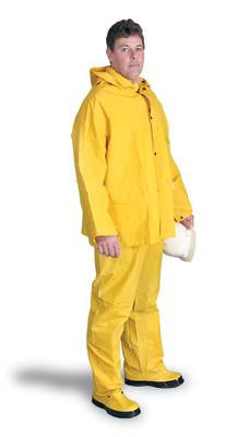 Radnor 3X Yellow .32 mm Polyester And PVC 3 Piece Rain Suit (Includes Jacket With Front Snap Closure, Detached Hood And Snap Fly Bib Pants)