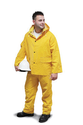 Radnor X-Large Yellow .35 mm Polyester And PVC 3 Piece Rain Suit (Includes Jacket With Front Snap Closure, Detached Hood And Snap Fly Bib Pants)