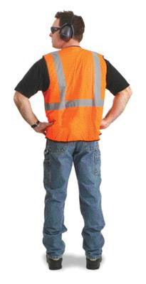"Radnor Large - X-Large Orange Lightweight Mesh Classic Economy Vest With Front Hook And Loop Closure, 2"" Silver Reflective Tape Striping And 1 Pocket"