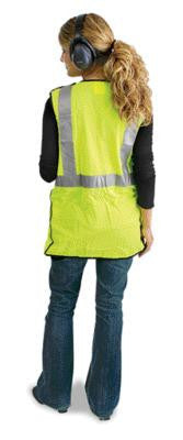 "Radnor Large Yellow Lightweight Polyester Class 2 Break-Away Vest With Front Hook And Loop Closure, 2"" 3M Scotchlite Reflective Tape Striping And 2 Pockets"