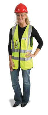 "Radnor 3X Yellow Lightweight Polyester Class 2 Surveyor's Vest With Zipper Front Closure, 2"" 3M Scotchlite Reflective Tape Striping, Fully Dielectric, Non-Conductive Zipper And 12 Pockets"