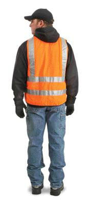 "Radnor 4X Orange Lightweight Polyester Class 2 Surveyor's Vest With Zipper Front Closure, 2"" 3M Scotchlite Reflective Tape Striping, Fully Dielectric, Non-Conductive Zipper And 12 Pockets"
