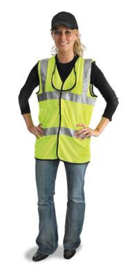 "Radnor Large Yellow Lightweight Polyester And Mesh Class 2 Classic Vest With Front Hook And Loop Closure And 2"" 3M Scotchlite Reflective Tape Striping"