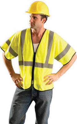 "Radnor 4X - 5X Hi-Viz Yellow Polyester And Mesh Class 3 Value Vest With Zipper Front Closure, 2"" Silver Reflective Tape Striping And 2 Pockets"