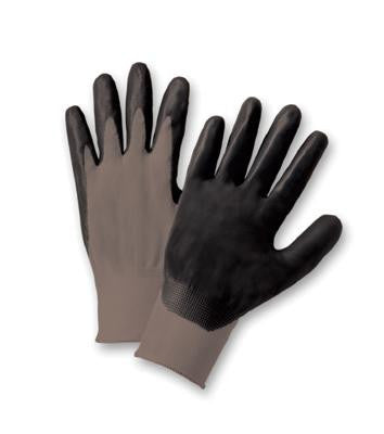 Radnor Large Black Foam Nitrile Palm Coated Gloves With 13 Gauge Gray Seamless Nylon Liner