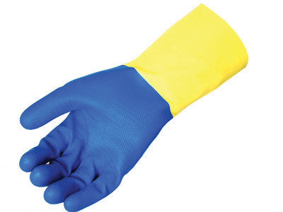 "Radnor Size 10 Yellow 12"" Flock Lined 22 Mil Latex Gloves With Blue Neoprene Coating And Embossed Grip Pattern"