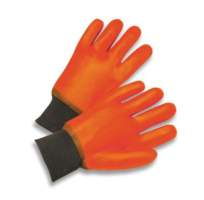 Radnor Large Orange PVC Jersey Lined Cold Weather Gloves With Safety Cuffs