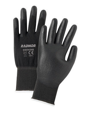 Radnor Large 13 Gauge Economy Black Polyurethane Palm Coated Work Gloves With Gray Nylon Knit Liner