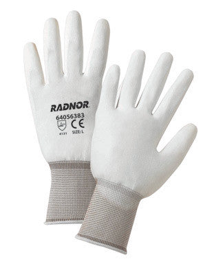 Radnor Medium White Premium Polyurethane Palm Coated Work Gloves With 15 Gauge Nylon Liner