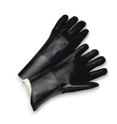 "Radnor Large 14"" Black Double Dipped PVC Glove With Sandpaper Grip And Interlock Lining"