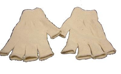 Radnor Large Natural 7 Cut Standard Weight Polyester/Cotton Fingerless String Gloves With Knit Wrist
