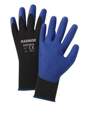Radnor 2X 15 Gauge Black Air Infused PVC Palm Coated Gloves WIth Blue Seamless Nylon Knit Liner