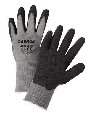 Radnor Large Gray Latex Palm Coated Gloves WIth 13 Gauge Seamless Nylon Knit Liner