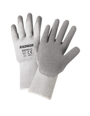 Radnor Medium Gray Thermal String Knit Cold Weather Gloves With Latex Palm Coating