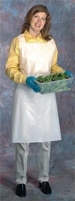 "Radnor 28"" X 46"" White 1.5 mil Medium Weight, Smooth Polyethylene Disposable Bib Apron With Top Loop And Side Ties"