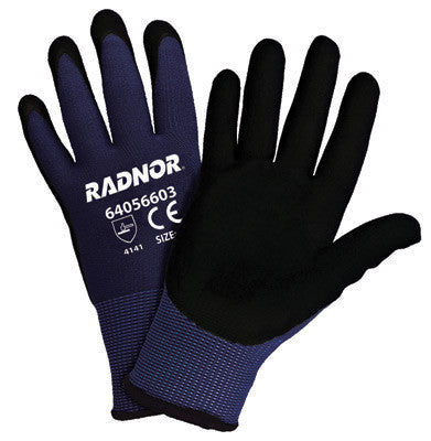 Radnor 2X 15 Gauge Black Nylon Microfoam Nitrile Palm Coated Work Gloves With Blue Seamless Nylon Liner And Dotted Finish