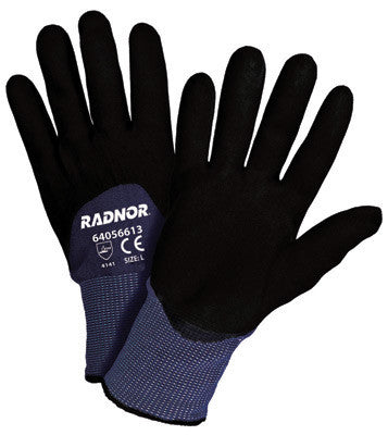 Radnor Small 15 Gauge Black Nylon Microfoam Nitrile 3/4 Coated Work Gloves With Blue Seamless Nylon Liner