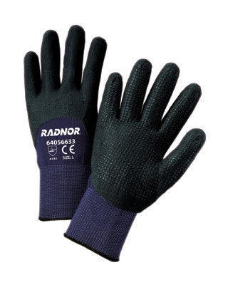 Radnor Medium 15 Gauge Black Nylon Microfoam Nitrile 3/4 Coated Work Gloves With Blue Seamless Nylon Liner And Dotted Finish
